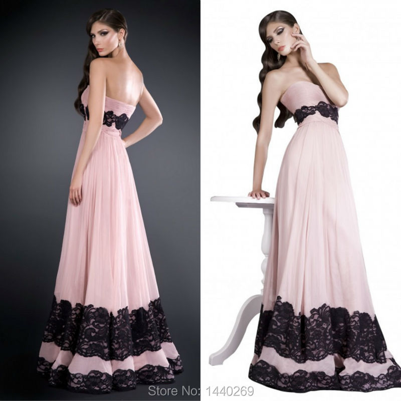 Elegant A Line Sweetheart Appliques Lace Chiffon Pleat Prom Gown Floor Length Evening Dresses For Wedding Party Custom Made