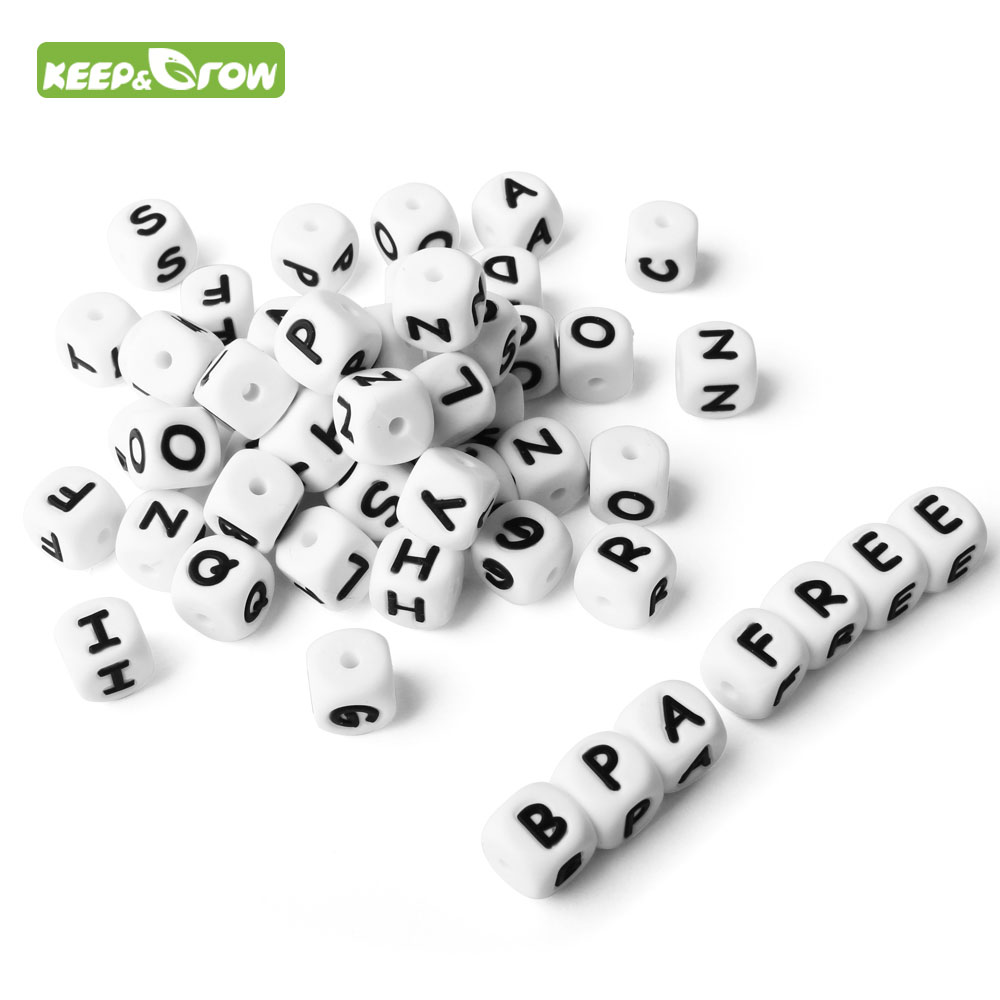 KEEP&GROW 40/60/100Pcs Silicone Letters Beads BPA Free 12mm English Alphabet Beads For DIY Necklace Making Toys Baby Products