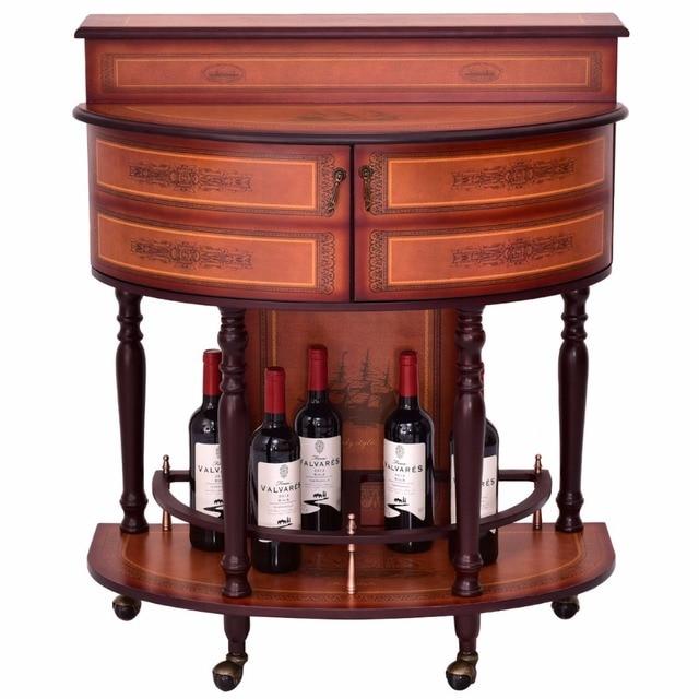 Giantex Rolling Vintage Wine Cabinet Bar Stand Wood Storage Holder Liquor Bottle Shelf Home Furniture Hw54830