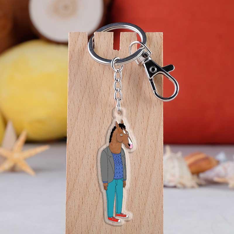 America Anime BoJack Horseman Keyrings Acrylic Cartoon Figure Hourse Car Key Chain Holder Keychain Jewelry Accessories Gift