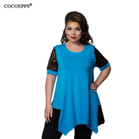 2017 Casual Women Lace Tops New Plus Size Irregular Patchwork Ladies Blouse Large Size Blue O