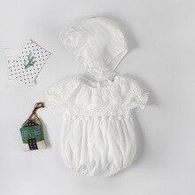 Baby Clothes Girl Bodysuit For Female Newborns Summer Lace White Infant for Girls Hat+Bodysuit 2pcs/set