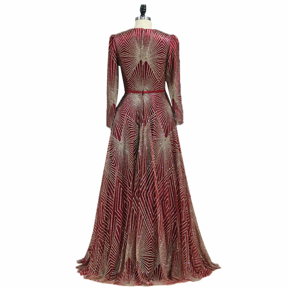 ANTI Luxury Lace Sequin Evening Dress Long sleeve Muslim robe de soiree Scarf Pattern Elegant A-Line Floor-Length For Party gown