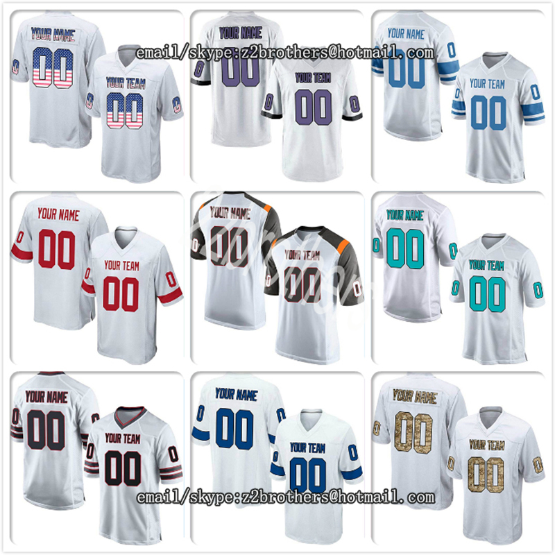 America Football Custom White Mesh Replica Football Game Jersey Embroidere China Oem Diy Creative Your Own Team Logo Name Number Men Women Kids Rich In Poetic And Pictorial Splendor Sports & Entertainment