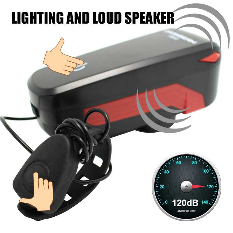 Speaker Bicycle Headlight 140dB loud <font><b>Horn</b></font> USB rechargeable Touch Switch+ Wire control switch Bike Light Super Bright Light