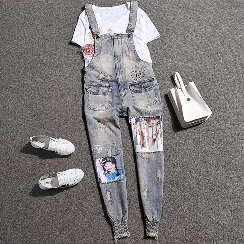 Denim Jumpsuit Ripped Holes Pockets Jumpsuit Women Overalls Straps Jeans Female Basic Classic Pencil Blue Denim