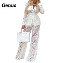 Genuo Two Pieces Set Lace Hollow Out Women Bandage Coat Wide Leg Pants Suits Outfits Sexy Nightclub Wear Clothing