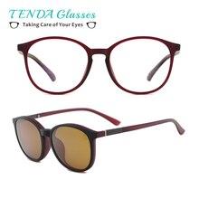 พลาสติกยืดหยุ่น Vintage รอบแว่นตากันแดดผู้หญิง Polarized Magnetic Polarized แว่นตากันแดดสำหรับเลนส์สายตาสั้นพร้อมคลิป