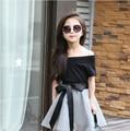 2016 Горячие Новые летние Девушки юбка набор, мода черный с короткими рукавами Футболки + Лук юбки 2 шт. набор, девушки юбки одежда наборы