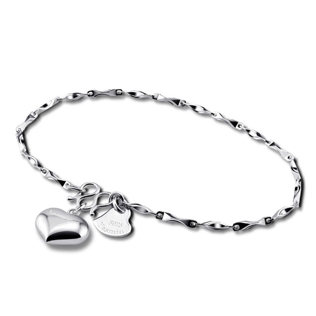 Fashionable Woman Sterling Silver Bracelet Solid 925 Silver Charm