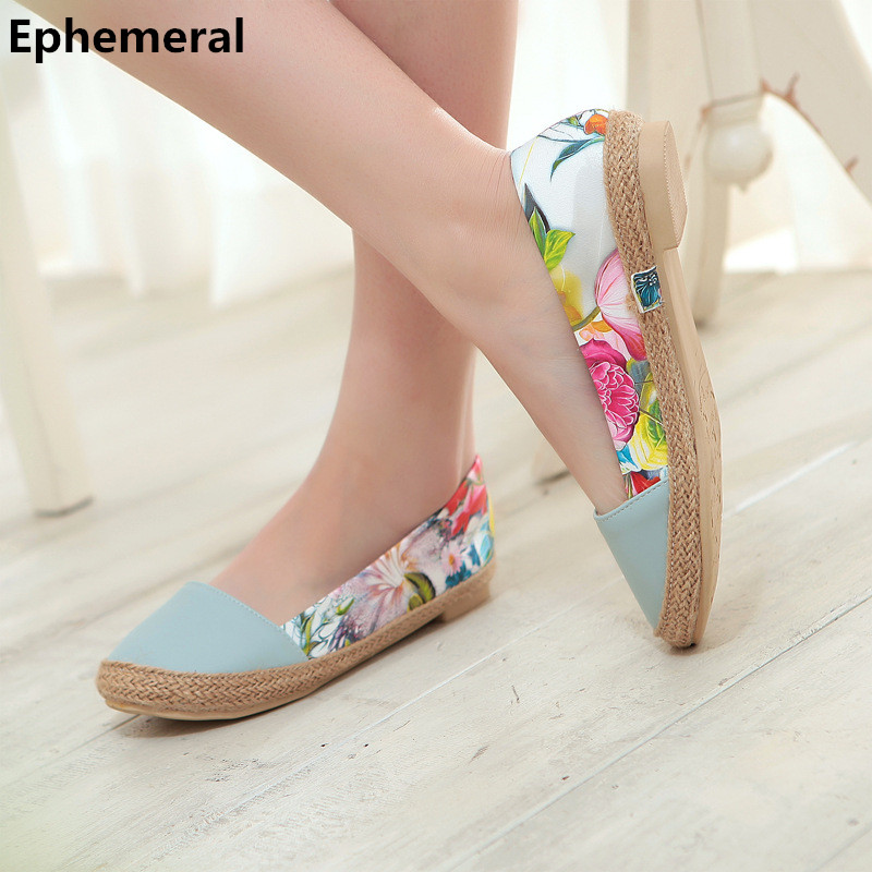 Lady's Weaving Printed Flowers Single Shoes Round Toe On Flats Plus size 34-44 Women Boat Shoes Driving Dancing Footwear Slip-On female high quality sweet bow knot plus size 35 44 round toe women shoes on flats casual footwear matching shoes and bags italy