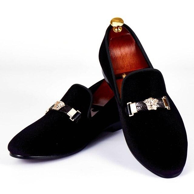nueva estilos 24ef4 8720e € 77.34  Harpelunde Tejida Hebilla de Cuero de Los Hombres Zapatos  Mocasines De Terciopelo Negro Zapatos de Boda Hecho A Mano Fumar Zapatillas  Tamaño ...