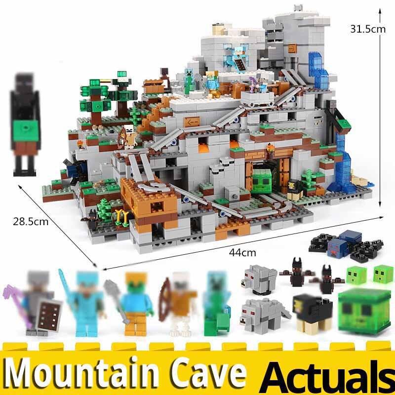 MINECRAFTED la montagne Cave jouets 2304 pièces Compatible legoinglys mes mondes 21137 bloc d'empilage modèle de construction blocs briques