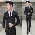 Новая Мода Горячие Продажа Марка 2017 весна мужские случайные высокое качество плед костюм мужской тонкий высокое качество fit пиджаки жилет и брюки
