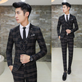 New Fashion Hot Sale Brand 2017 spring men's casual high quality plaid suit male slim high quality fit blazers vest and pants