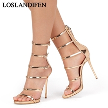 2018 New Sexy Stiletto High Heels Sandals Women Ankle Strap Open Toe Sandals Party Dress Wedding Shoes Lady Gold TL-A0031 цены онлайн