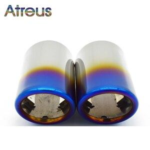 Image 2 - Copertura del tubo del silenziatore della punta di scarico dellacciaio inossidabile dellautomobile di Atreus 2PC per Audi A4 B8 A6 C6 accessori per Audi A3 A5 Q5 Q7 Q3 A1 S line