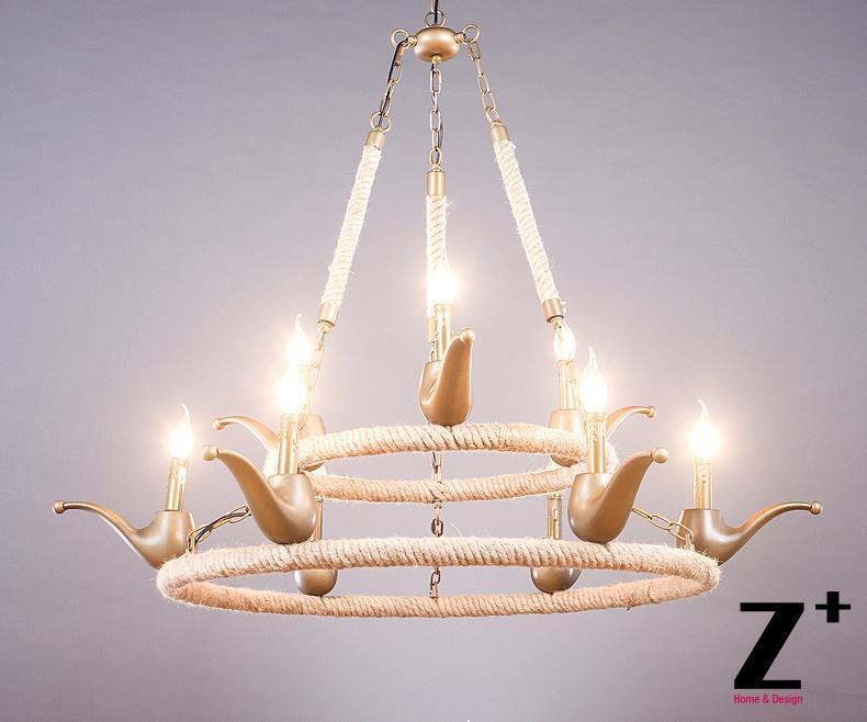 Американский стиль, винтажная кантри, льняная Веревка из бисера, курительная трубка, форма, светодиодная люстра, лампа E27 X 6, бесплатная дост