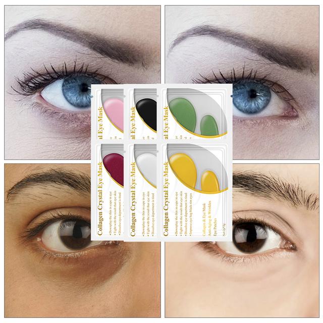 QYF 24K Gold Collagen Eye Mask Eye Anti-Aging Wrinkle Firming Serum Patches Dark Circle Puffiness Eye Bag Skin Care 5 Pair