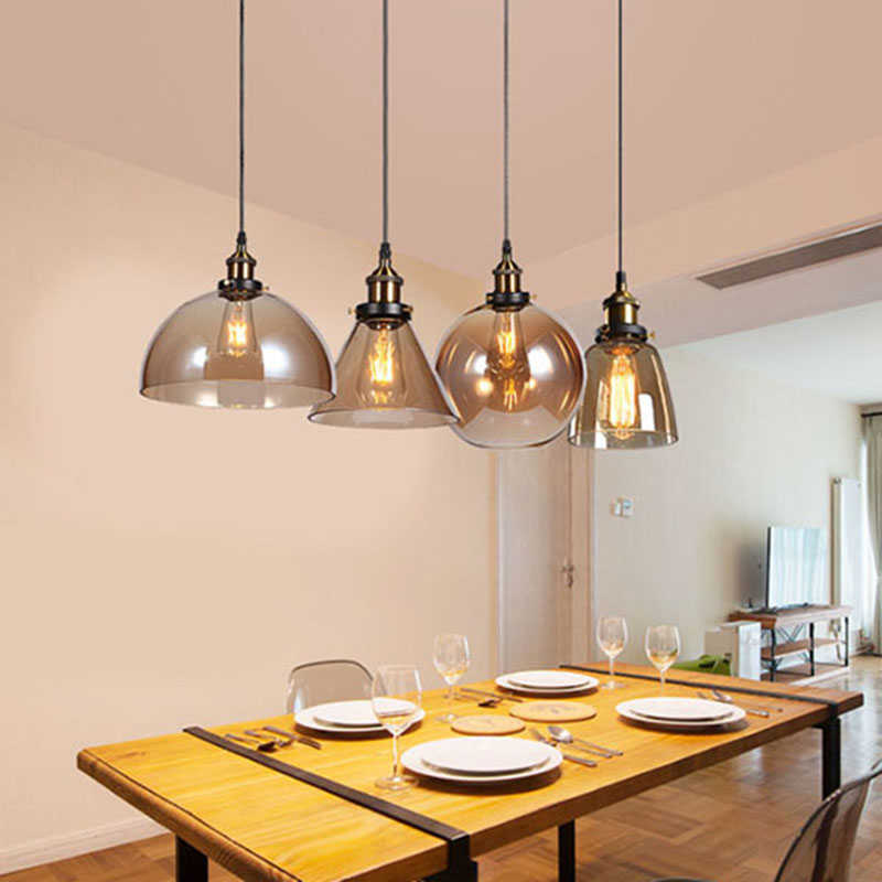 Fashion modern clear /cognac dinner pendant light home deco bar counter lamp e27 pendant lamp 85-265V