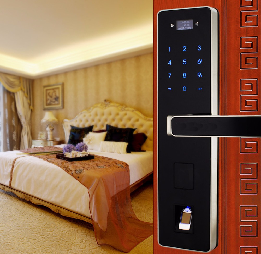 Biometric fingerprint touchscreen password entrance anti-theft door lock electronic smart locks OS008F