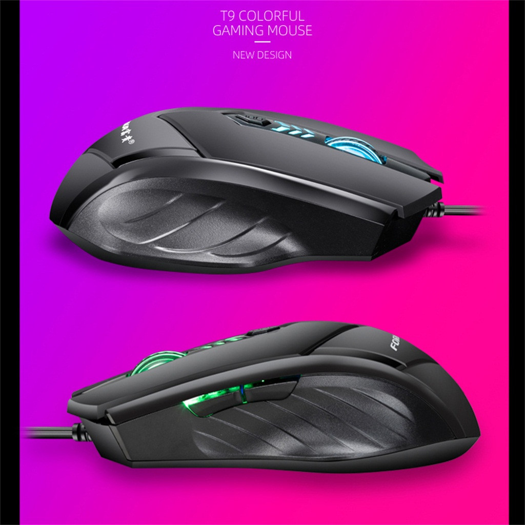LED Wired Gaming Professional 6Buttons 2400DPI Adjustable Optical Silent Teclado Mousefor PC Laptop Desktop