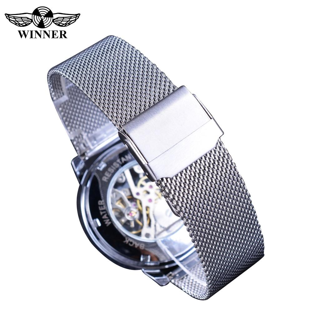 Winner 2019 Fashion Blue Display Silver Mesh Belt Transparent Dial Men's Mechanical Wristwatches Top Brand Luxury Waterproof 5