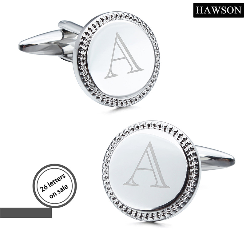 HAWSON Jewelry Silver Color Laser Alphabet Cufflinks 26 Letters Mens Custom Cuff links Round Shape Button