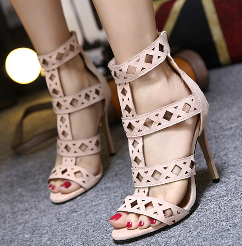 ФОТО AVVVXBW 2017 Summer Gladiator Sandals Sexy Thin Heel High-heeled Sandals Hollow Out Shoes Suede Women's Pumps Sandalias C428