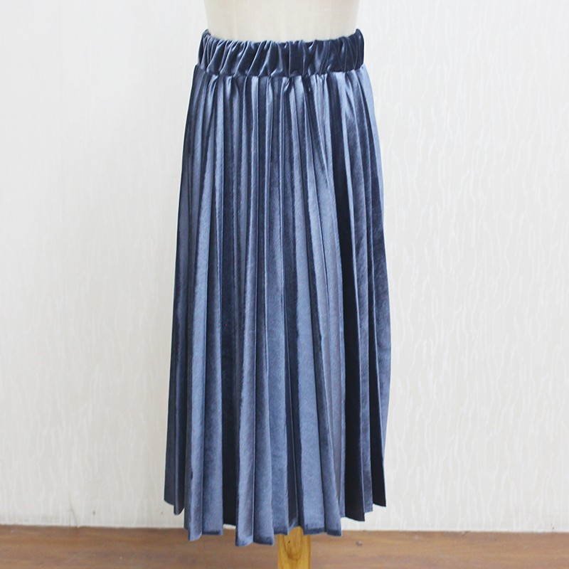 Women Long Metallic Silver Maxi Pleated Skirt Midi Skirt High Waist Elascity Casual Party Skirt 21