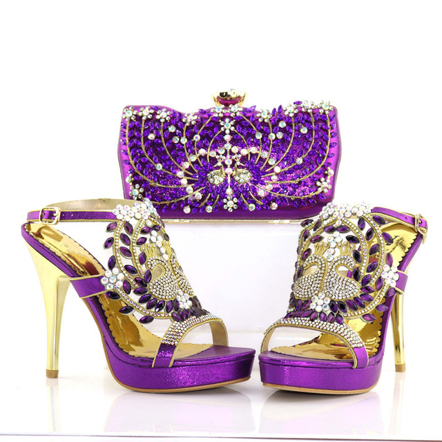 Full rhinestones shoes sandal matching clutches bag 2018 african aso ebi  shoe and bag purple color shoes and bag SB8179-3 cc72b8b9b765
