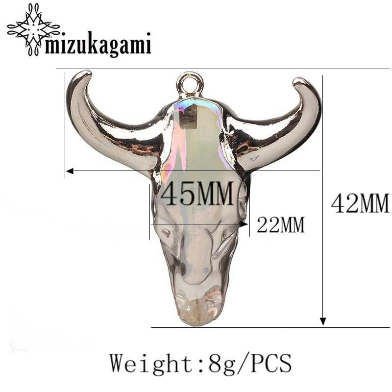 สีขาว Charm จี้ 3D วัว Bull Ox Head Skull Charm จี้ 45*42 MM สำหรับ DIY สร้อยคอเครื่องประดับทำค้นหาอุปกรณ์เสริม