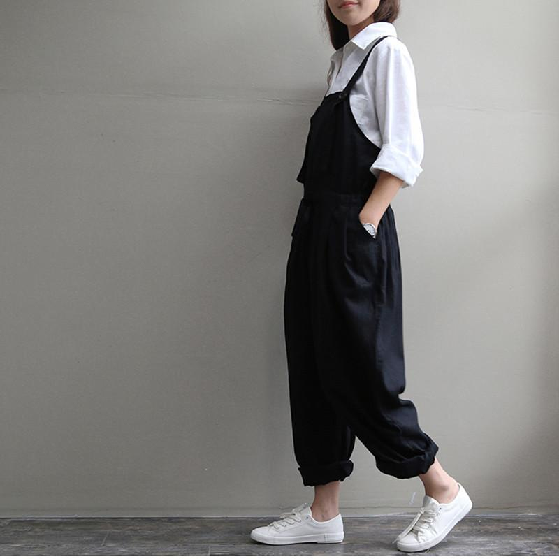 Casual Loose Harem Pants Women Sleeveless Strap Rompers Dungaree Oversized Trousers Pants Overalls Spring Autumn Pants Female