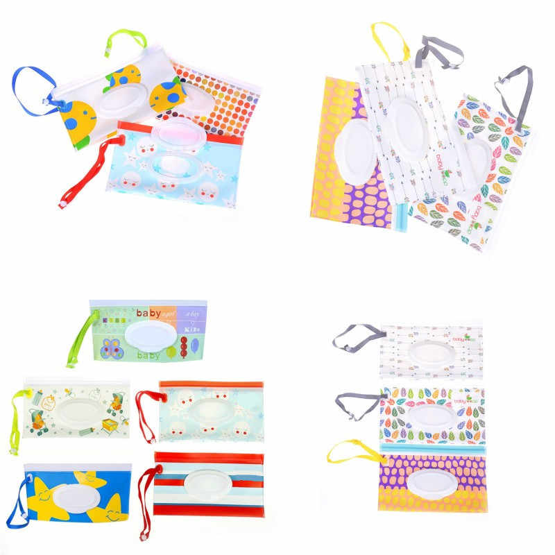 Eco-friendly Wipes Carrying Case Wet Wipes Bag Clamshell Cosmetic Pouch Clutch and Clean Easy-carry Snap-strap Wipes Container