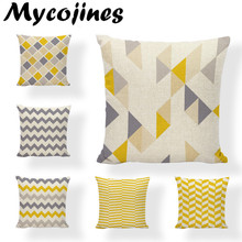 Yellow Line Wavy Striped Water Ripples Geometric Decorative Pillowcase Cotton Linen Home Sofa Decor Throw Cushion Cover 45*45cm cute kitten cushion cover 45cm x 45cm cotton linen square home decorative sleeping cat throw pillow case sofa car office decor