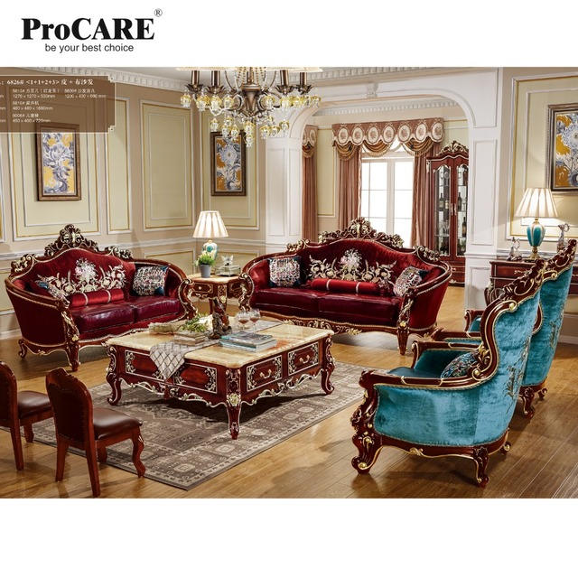 High Quality Luxury European Style Fabric With Leather Sofa Set 1+1+2+