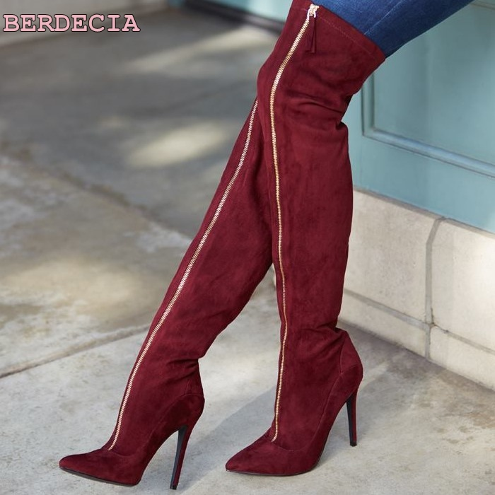 wine red suede leeather long boots pointed toe over the knee high boots thin heel zipper woman shoes european thigh high boots new 2018 spring wine red pink velvet upper women long boots over the knee sexy pointed toe high thin heel boots shoes lady