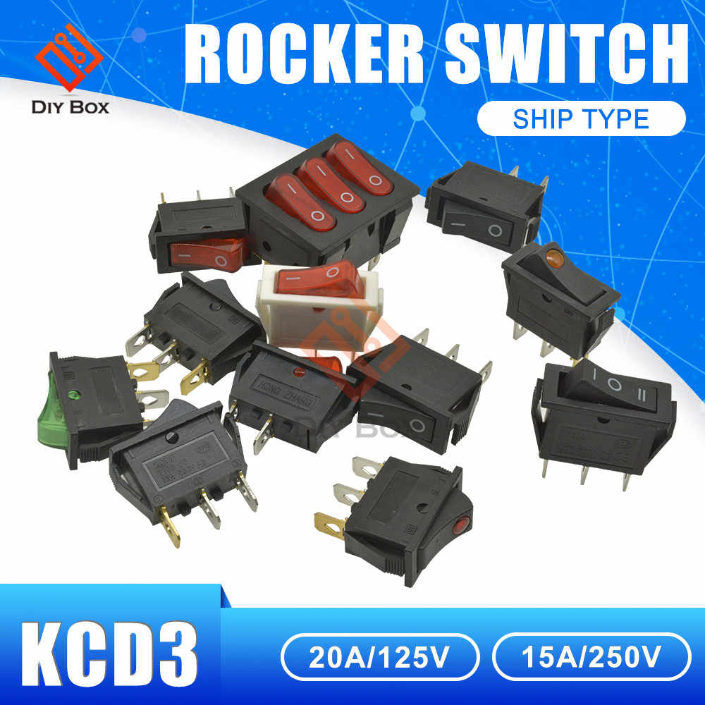 KCD3 ロッカースイッチ 2Pin/3Pin/9Pin オン · オフ/オン-オフ-オン 2/3 ポジション Ac 16A 250 V 13.5*31 ミリメートルライトボートスイッチ防水キャップ