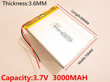 Size 367080 3.7V 3000mah Lithium polymer Battery with Protection Board For 7 inch Tablet PC Ainol Aurora