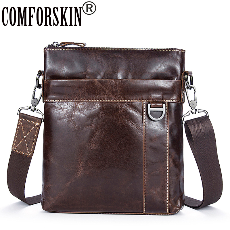 COMFORSKIN Bolsa Masculina New Arrivals 2020 Genuine Oil Waxing Leather Men Messenger Bags High Quality Men's Leather Bag Sales