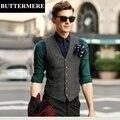 Alta Qualidade Mens Suit Vest Nova Marca Clássico Inglaterra Estilo Terno Blazer Casaco Sem Mangas Masculino Roupas Slim Fit Cinza Colete