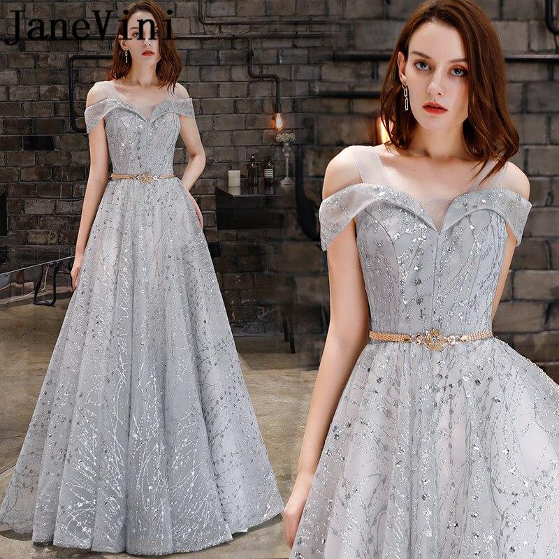 JaneVini élégant une ligne argent gris robes de bal avec des ceintures 2019 hors de l'épaule paillettes scintillantes Tulle longues robes de soirée formelles