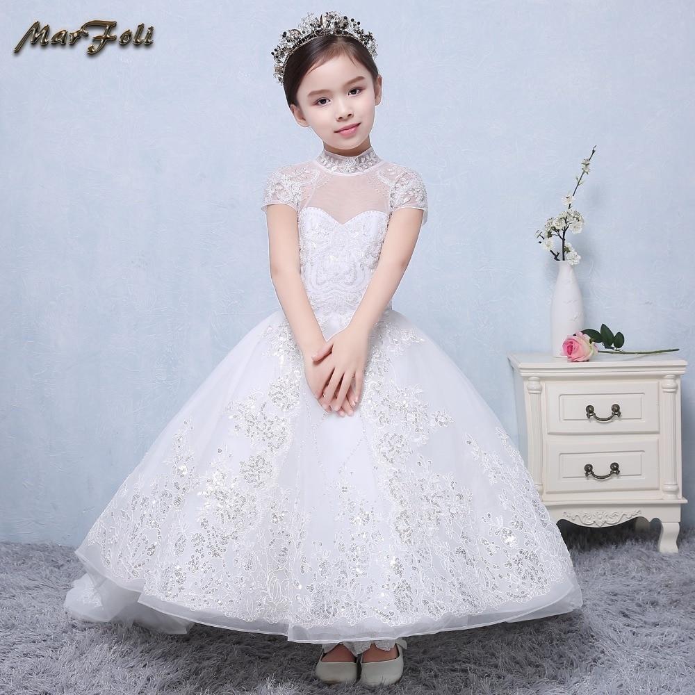 Фотография Marfoli Flower Girl Dress ivory white beading Wedding Pageant Kids dress 2017 Summer birthday Princess Party Dresses ZT0028