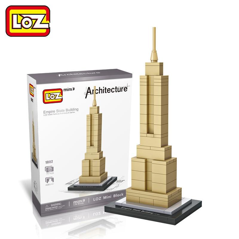 New 1002 Empire State Building LOZ World Famous Architecture Series Mini Building Blocks DIY Assembled Toys Kid Educational Toys mini architecture series 4 cubicfun 3d educational puzzle paper