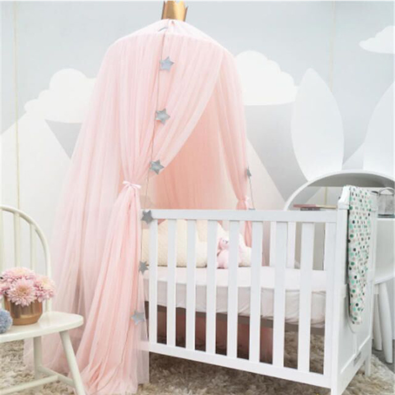 White Pink Gray Khaqi Princess Kids Crib Canopy, Nursery