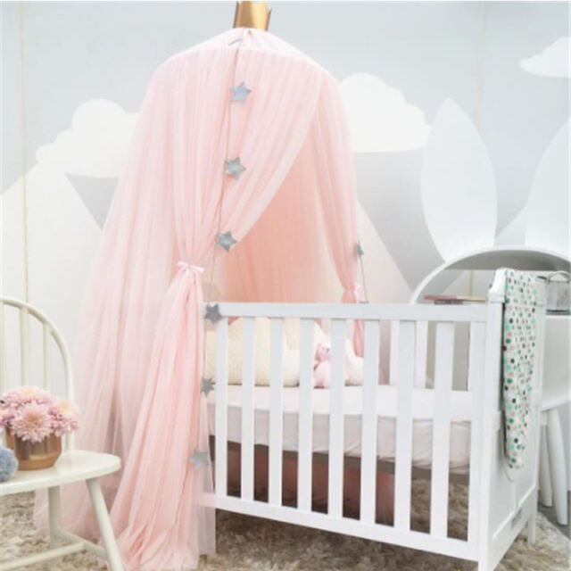 White Pink Gray Khaqi Princess Kids Crib Canopy Nursery Bed Canopies Play Room