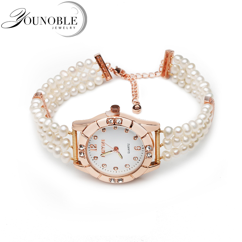Beautiful Women Watch With Freshwater Pearls Real Natural Pearl Bracelet Girl Birthday Gift