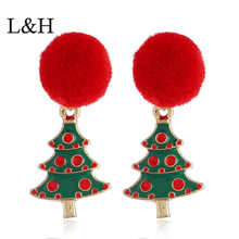 L&H New 2018 Women Earrings Bohemia Red Color Christmas Tree Stud For Statement Fashion Jewelry Gift