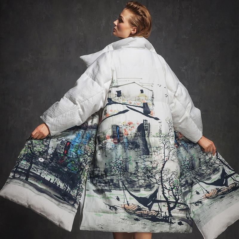 Blanc Manteau Des Piste Encre Chaude Veste Impression Bas Le Section Longue 2017 Longues Lâche Vers Hiver De Femmes Date À Mode Efatzp Manches xZXwqvBzq