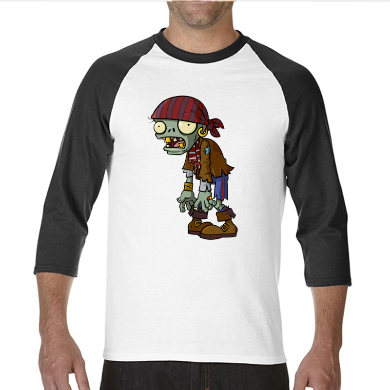 2017 Natural Cotton print t shirts plants vs zombies funny Long TShirts raglan sleeve T Shirt men